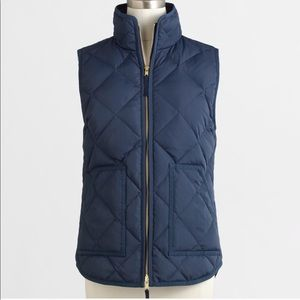 J. Crew Factory Navy Blue Quilted Puffer Vest